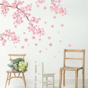 Recenti romantico rosa prugna adesivi decorativi Moda Plum Blossom Fiore Albero Wall Sticker Art murale della decalcomania domestico del PVC Camera Decor