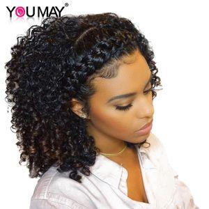 Kinky Curly Wig 360 Lace Front Front perruques préplumées avec des cheveux de bébé brésilienne avant de lacet perruques de cheveux humains 180% You May Remy cheveux Y190713