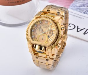 Top INVICTA Brand Watch Mens Fashion Luxury Watches Golden Large Dial Calendar Classic Style Designer Men Wristwatches Invicta