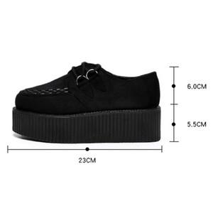 con il contenitore di LAKESHI Creepers Scarpe Large Size 41 scarpe piane della piattaforma Lace-Up Women punta rotonda dei pattini degli appartamenti Casual Solid Female