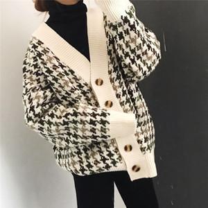 Allentato Plaid Cardigan oversize Maglione Donna Primavera e Autunno cappotto coreana a maniche lunghe maglione New Spring 2019 Y200106
