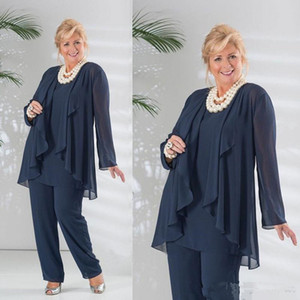 Dark Navy Three Pieces Chiffon Mother of the Bride Pant Suits With Long Sleeve Jacket Pants Suit Plus Size Wedding Guest Dress