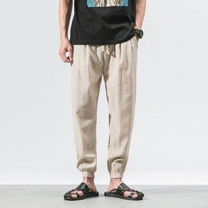 ZOGAA Men Hip Hop Baggy Cotton Linen Harem Pants Plus Size Wide Leg Trousers Casual Pants Drawstring Solid Joggers Cross-pants