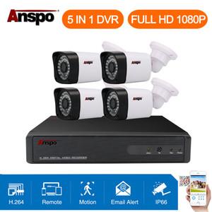Anspo 4CH 1080 P CCTV Système de Caméra de Sécurité 5 en 1 DVR IR-coupé Surveillance à Domicile Étanche Extérieure Blanc Couleur