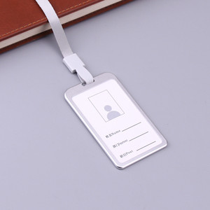Hot New 1pc Vertical Style Aluminum Aluminium Alloy ID Card Case Business Card Badge Holder with Lanyard for Office