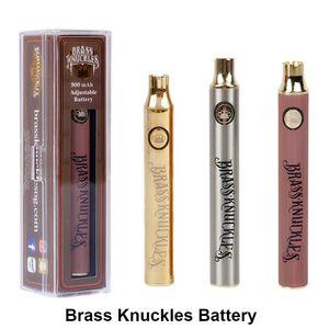 2019 Brass Knuckles Batería 650mAh 900mAh Voltaje variable Precalentamiento Batería de cigarrillo electrónico Pluma para 510 Thraed Grueso Cartucho de aceite batería de vape