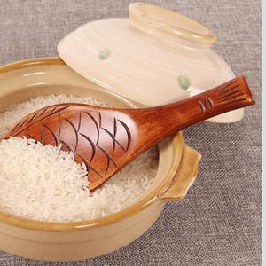 Hölzerne Fisch-Muster Reis Süßwaren Löffel Küche, die Werkzeug Utensil Scoop Paddle Japanische Holzreislöffel