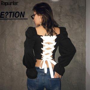 Rapwriter Sexy Backless Тонкий белый бинт шнуровке черные футболки женщин 2019 Квадратный воротник с длинным рукавом Sexy Crop Топы футболках T200108