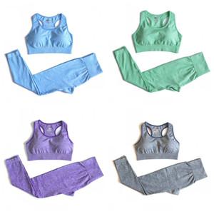 Мода йога наряды 10 Цвет стрейч талия растениеводство топ бюстгальтеры узкие брюки спортивная одежда набор упражнений спортивные костюмы одежда женщин 58la E19