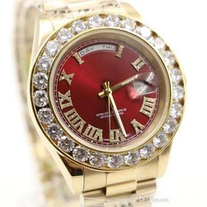 2018 Day Président Date de 18K Perpetual Luxe Mens Watch Big Diamond Bezel d'or en acier inoxydable d'origine Bracelet Automatique Montres Hommes.