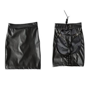 FMALE PU mini vestido de la falda Nalgadas Adjuntar G-String peluche ahueca hacia fuera Ropa de club, atractivo adulto del traje Accesorios Sex Toys