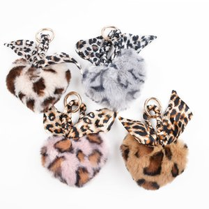 2 Styles Fashionable Leopard Key Chain Heart-shaped Soft Fur Keyring with Silk Scarf Bag Accessories Car Interior Pendants