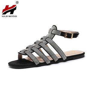 NAN JIU MOUNTAIN Summer Roman Sandals Women Flat Sandals Handmade Rhinestones High Quality Open Toe Women's Shoes Plus Size t18