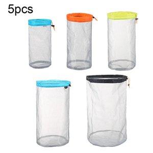5pcs / set de toallas reutilizables juguetes de playa malla bolsa de almacenamiento Stuff Sacks ropa al aire libre ultraligero con cordón Packs camping transparente