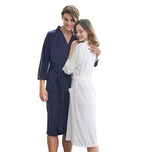 Summer Bath Robe for Women Soft Towel Bathrobe Knee-Length Hotel Spa Robe Lightweight Dressing Gown 6 Colors