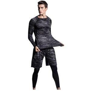costume hommes de compression des vêtements de sport Survêtement mâle élastique Fitness T Shrit + Pantalons rapide de Tight Suit Sport Séchage