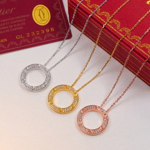 2020 Big Circle Pendant Rose Gold Silver Color Necklace with stone for Women Vintage Collar Costume Jewelry with original box set
