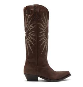 Tüp şövalye çizmeler moda yeni deri elektrikli nakış kadın botları kalın ile sivri kafa fermuar tarafı nakış 35-42 SZ