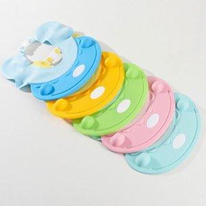 5 colores de la ducha del bebé encantador del casquillo del estilo de dibujos animados del gato de silicona ajustable proteger los ojos Orejas impermeable champú gorro de baño para niños SH190919