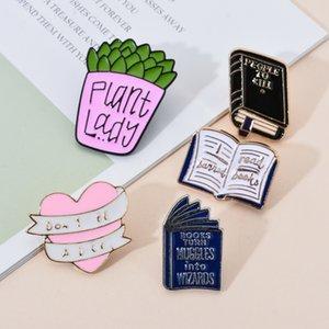 Smalto Spilla Ciondolo Charm of Cartoon Books Potted Plants perni metallici per le donne uomini gioielli regalo carino moda