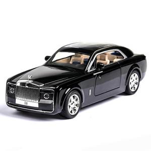 1:24 Diecast Игрушка Vehicl Rolls Royce Phantom Huiying Модель автомобиль Колесо сплав Звук Свет Оттяните автомобиль Мальчик Kid Luminous автомобиль игрушка T200110