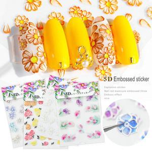 Nail Art тиснение наклейки Самоклеящиеся 5D Рельефы Цветы серии 20 Items Broderie цветы Может быть Mixed Выберите Summer New Design DiY