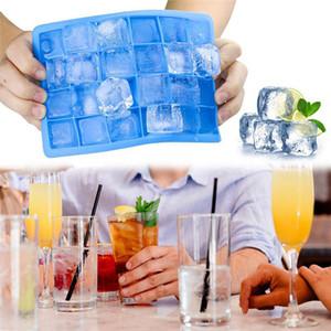 24 Grids silicone Ice Cube Tray Moisissures avec couvercle forme carrée Fruit Popsicle crème glacée Mold Bar Cuisine potable Making Ice Cube