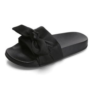 3 colors Silk Bow Fashion Slides Women Summer Slippers Sandals flat Chinelo Brand Beach Shoes Rihanna Casual Flip Flops Bohemia