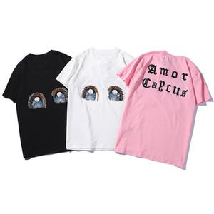19SS Mens estilista T shirt de alta qualidade Mulheres Casual manga curta Mens Rodada Neck Tees 3 cores tamanho S-2XL