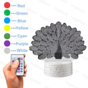 Lights de nuit Creative Dessin animé Ailes de paon 3D Base de crack acrylique avec contrôle de télécommande / tactile coloré pour la chambre salon décoration DHL