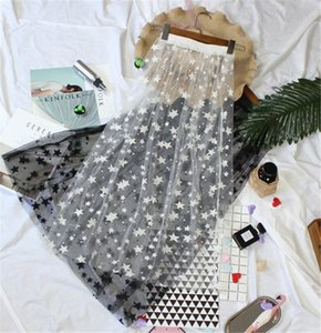 Weikadun Verão Mulheres Saias de Renda Moda Casual Elegante Malha Skirt Estrelas Overlay Midi Uma Linha Preto Branco Longo Saia D689 J190426