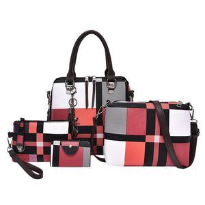 Designer-4Pcs set Composite Tassel Bag lady Fashion England style blue plaid Shoulder Crossbody Handbag designer Phone Bags For Women