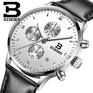 Genuine BINGER Quartz Male Watches Genuine Leather Watches Racing Men Students Game Run Chronograph Watch Male Glow Hands CX200805