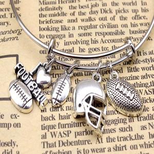 حار بيع الفضة القديمة أحب كرة القدم بيسبول قبعة قلادة سوار سوار الشخصية الإبداعية زوجين الرياضة مجوهرات هدية العيد