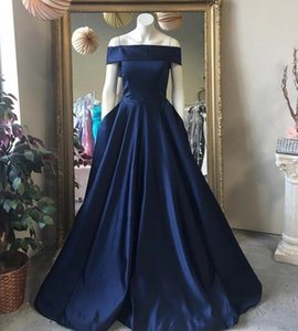 Simple Satin A-Line Evening Dresses Off the Shoulder Floor Length Long Formal Evening Party Gowns Prom Dress