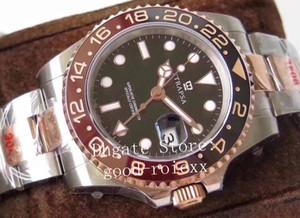 Orologio da uomo in cristallo nero Brown Gestore Mens GM Factory Automatico Automatico Cal.3285 Orologi Rose Gold Men 904L Acciaio GMT ETA 126711 Pepsi WristWatches