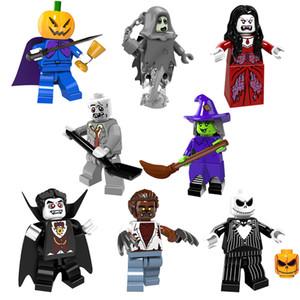 Ghost Mini Toy figura principal de la calabaza Moster jinete sin cabeza de combate de la bruja del hombre lobo del vampiro del zombi ladrillo módulo regalo de Halloween