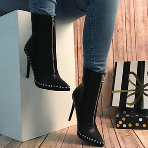 Apontado Sexy Botas de Salto Alto Botas Moda 11.5cm Salto Fino Mulheres Partido Martin tornozle Booties sapatos com rebites e zíper