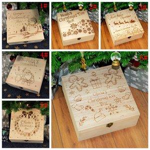 6styles Natale Scatola di legno che intaglia pupazzo di neve dei cervi di natale scatole regalo per la decorazione per adulti e bambini puntelli FFA3267