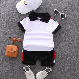 Baby Summer Suits Boys Preppy Style Two-piece Sets Children Casual Outdoorwear Kids Solid Color T-shirt + Shorts 2020 Style Child Cloth