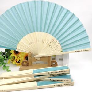 50PCS Stampa su Wedding Fan con il lago verde del panno del tessuto personalizzati mano pieghevole di bambù Ventilatore nella semplice pacchetto XD23274