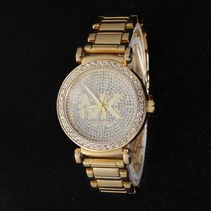 Mujeres calientes relojes de lujo de alta calidad reloj color de rosa del diamante del oro reloj de cuarzo de acero inoxidable reloj de pulsera de las mujeres Montre mk del envío