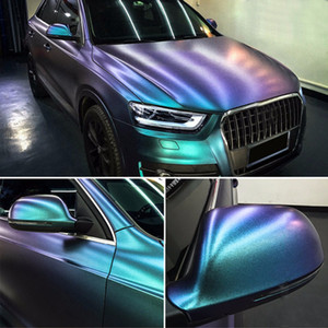 1.35m*75cm Glossy DIY Car Body Film Chameleon Pearl Glitter Vinyl Sticker Purple Blue Chameleon Automobiles Car Wrap Vinyl Film