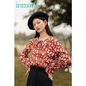 INMAN 2020 Autumn New Arrival Vintage Floral Peter pan Collar Flurryedge Cuffs Literature Cotton Blouse