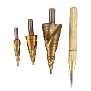 Nueva HSS espiral Ranuras Paso Taladro Set agujero cortador cono de madera, la perforación de base de sierra Herramientas Bits Punzón
