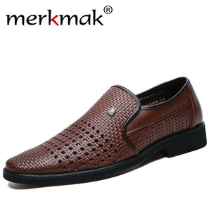 Merkmak 2020 Summer Men's Leather Sandals Genuine Leather Soft Bottom Slip-On Shoe Hole Shoes Middle-Aged Hollow Weave Dad Shoes CX200623