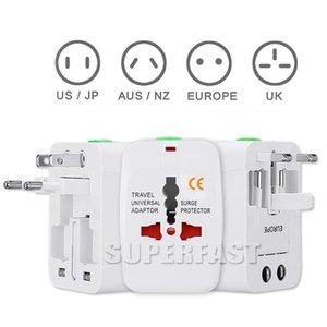 Perakende Paketi ile Bir Gezi AC Güç Duvar Şarj için ABD, AB UK AU Dönüştürücü Plug Universal Uluslararası Adaptörü Tüm