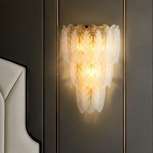 Modern Glass Wall Lamps Luxury Bedroom Bedside Light Corridor Living Room Wall Light Simple Model Room Aisle Mirror Light Feather Wall Lamps