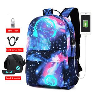 Senkey Estilo Homens Anime Estudante Luminous carga USB do computador portátil Bolsa Escola para o adolescente Anti-roubo Backpack WomenMX190905MX190907
