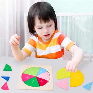 Temprano Juguetes educativos Forma geométrica cognitiva puzzle Niños Educación Infantil circular Matemáticas Fracción Junta del juguete de Enseñanza